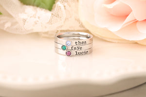 Stackable Mothers Ring - Name Birthstone Ring - RIng with Names and Birthstones, Personalized ring Stacking mothers rings, stamped name ring
