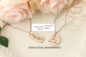Handwriting Keepsake Necklace - Actual Handwriting Necklace - Custom Handwriting Jewelry - Handwriting Heart Necklace - Handwriting Keepsake