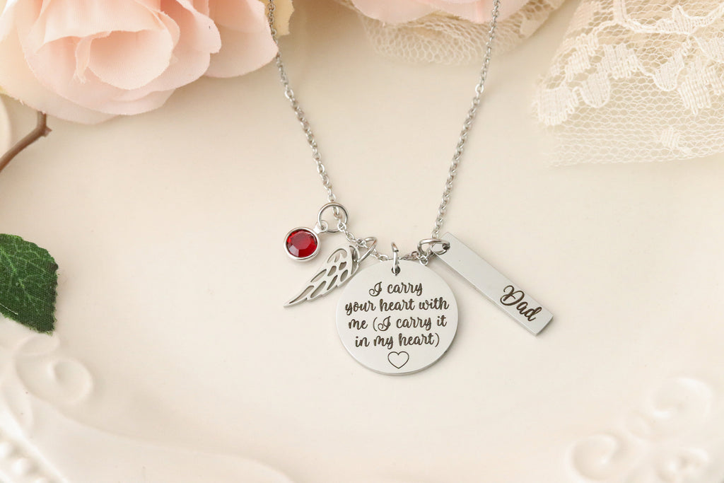 I carry your heart with me, I carry it in my Heart Necklace - Memorial Necklace - Sympathy Jewelry - Gift for Loss of Spouse - Condolences