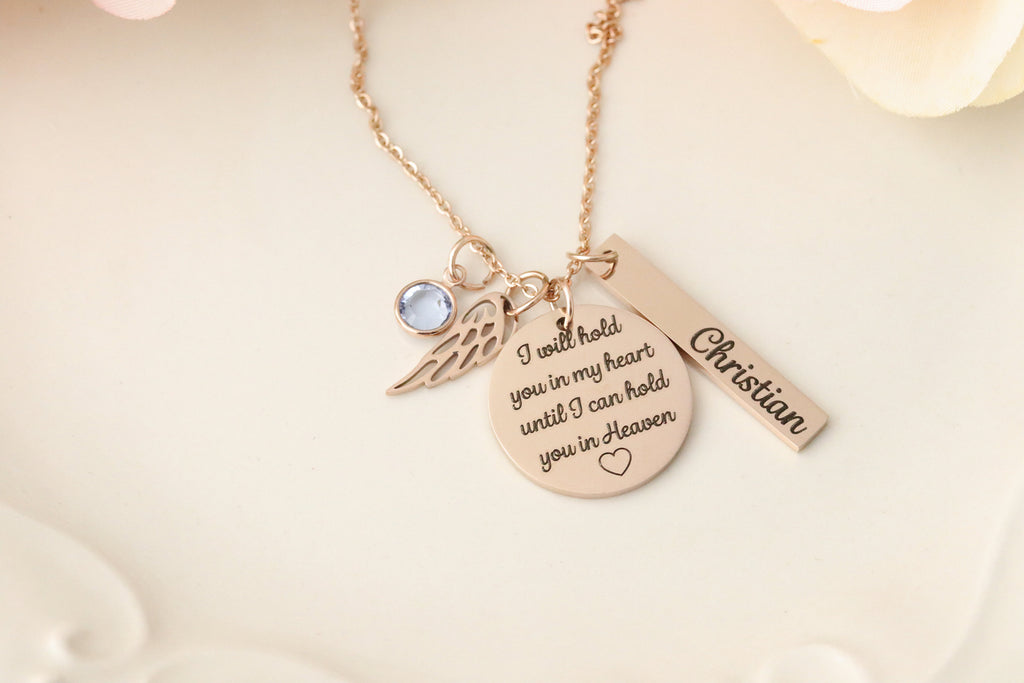 Hold you in my heart until I can hold you in heaven necklace - Memorial Necklace - Sympathy Jewelry - Gift for Loss of Spouse
