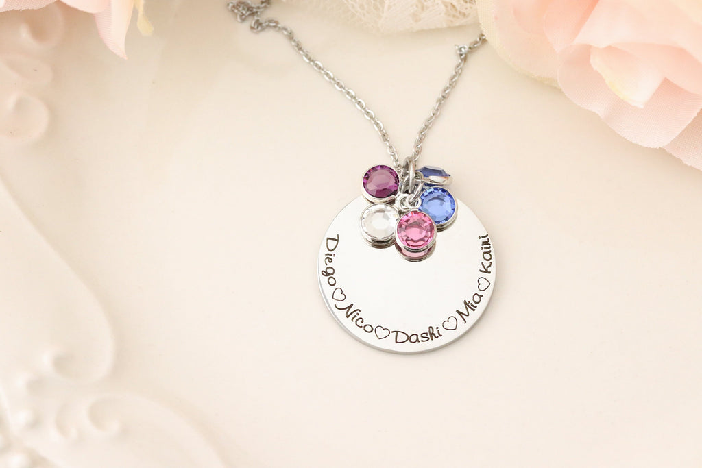Family Birthstone Necklace - Mommy Jewelry - Gift for Mothers Day - Gift for Grandmother - Grandmothers Jewelry - Custom gift for Grandma