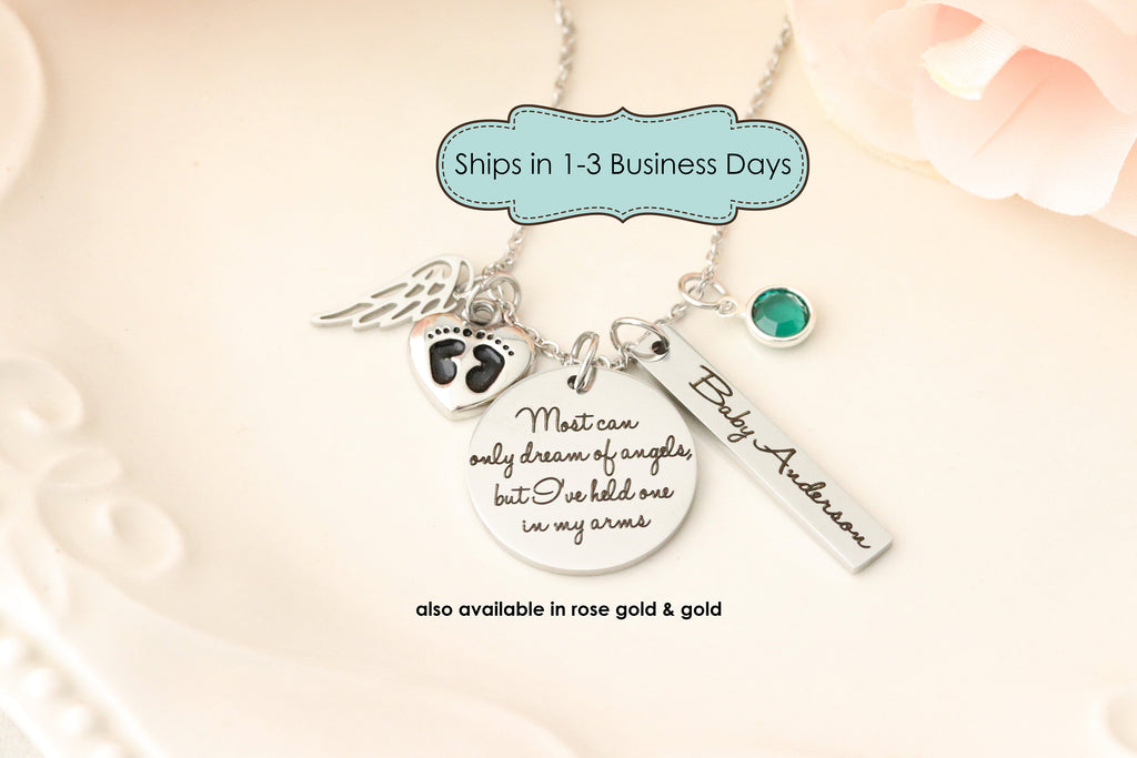 Still Born Memorial Necklace - Miscarriage Memorial -  Mommy of an Angel - Loss of children memorial -  Loss of Pregnancy Gift -
