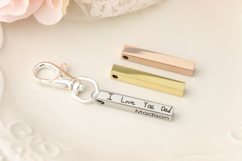 Actual Handwriting Keychain - 4 sided Bar Keychain - 3-d Keychain - Handwriting Jewelry - Handwriting Gift For Dad - Keychain for Dad