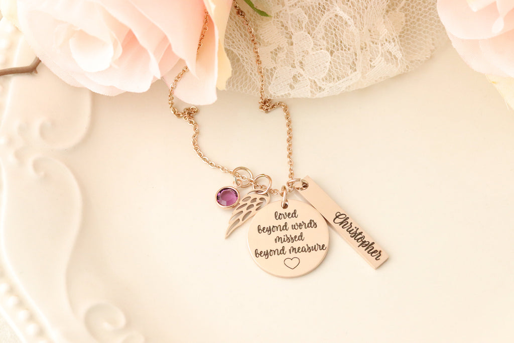 Loved Beyond Words Missed Beyond Measure Necklace - Personalized Memorial Necklace - Custom Memorial Gift - Personalized Memorial Jewelry