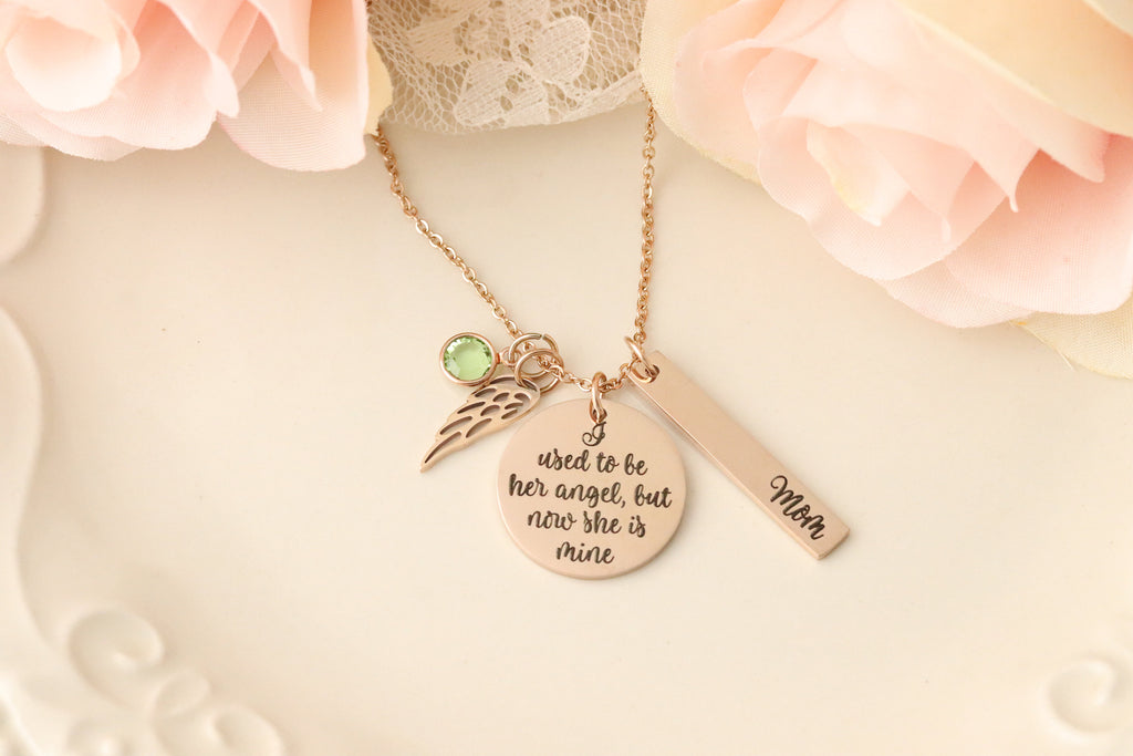 I used to be His Angel But Now He is Mine Necklace - Loss of Parent Necklace - I Used to be her angel, but now she is mine Necklace