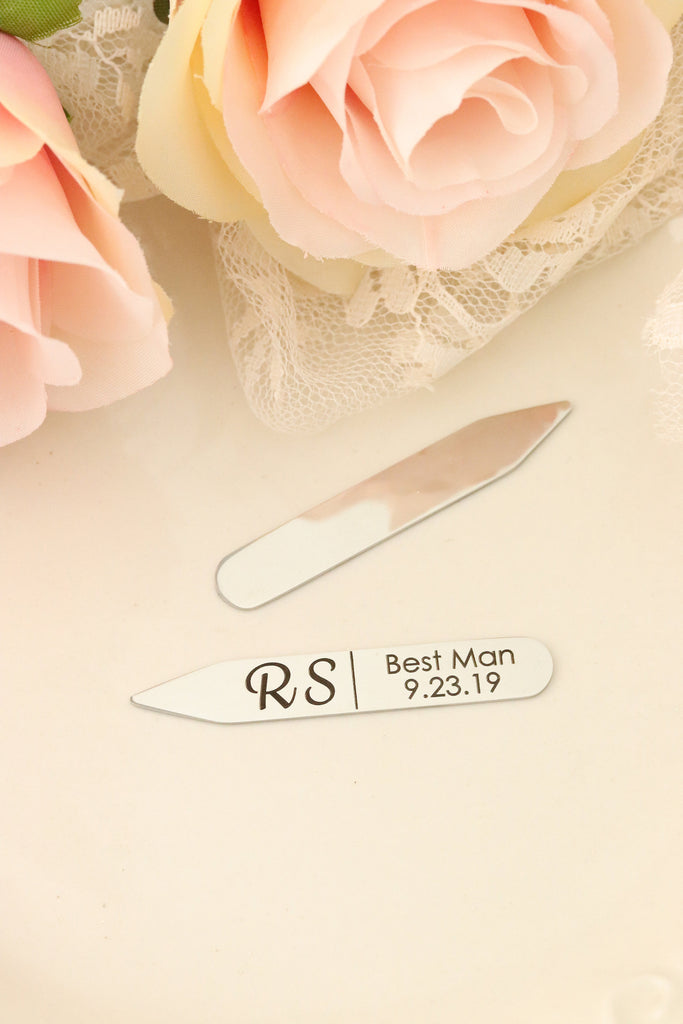 Personalized Collar Stays - Collar Stays For Wedding Party - Collar Stays for Groomsman - Wedding Day gift For Groom