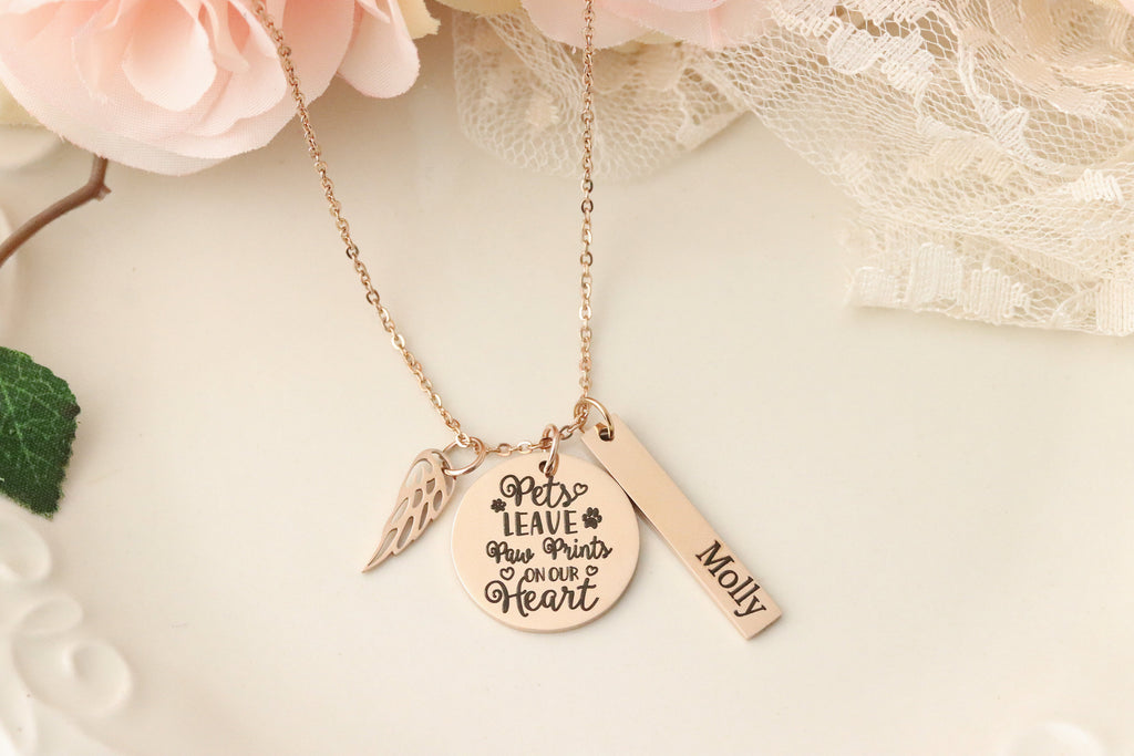 Rose Gold Pet Memorial Necklace - Pet Urn Necklace - Pets Leave Pawprints on Our Hearts - Dog Urn Necklace - Dog Memorial Necklace -
