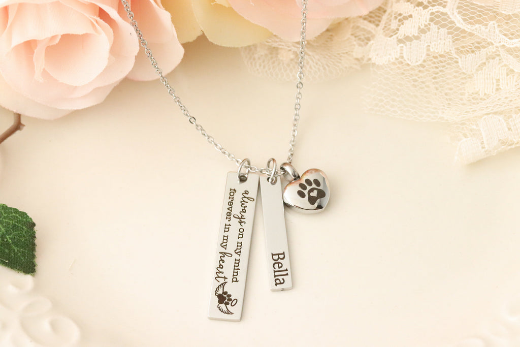 Always on my Mind, Forever in my Heart Pet Memorial Necklace - Pet Urn Necklace - Dog Urn Necklace - Dog Memorial Necklace -