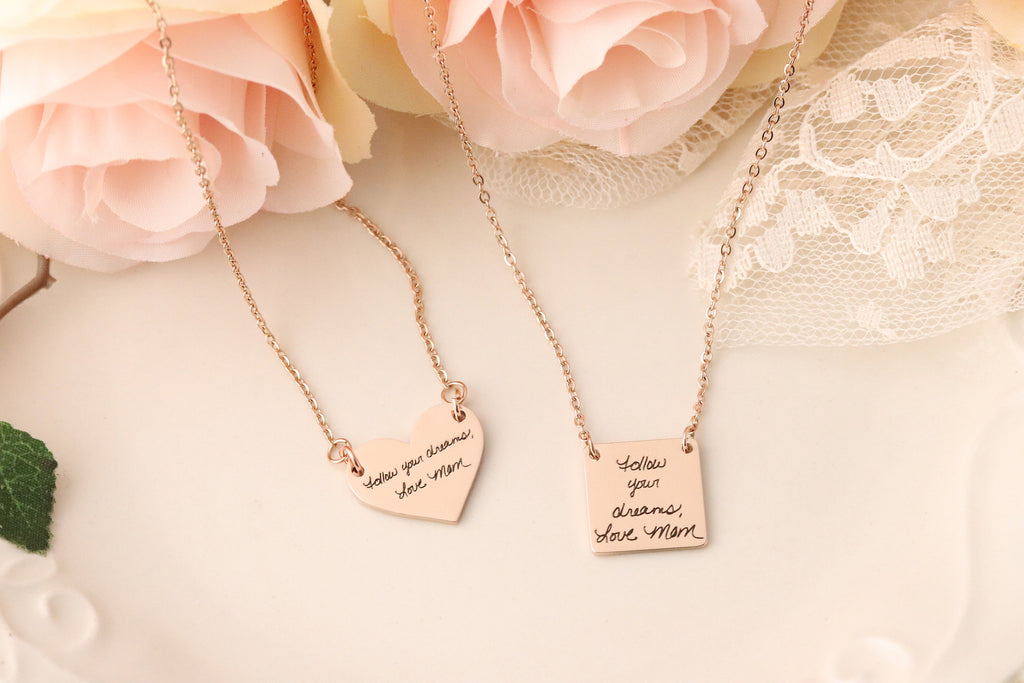 Actual Handwriting Necklace - Custom Handwriting Jewelry - Handwriting Heart Necklace - Gift with Actual Handwriting - Handwriting Keepsake