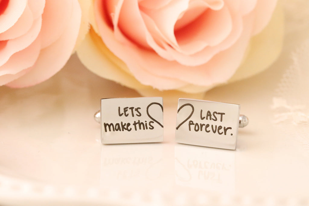 Actual Handwriting Cuff Links - Personalized Cuff Links for Groom - Gift for Groom on Wedding Day - Groom gift from Bride, Husband Cufflinks