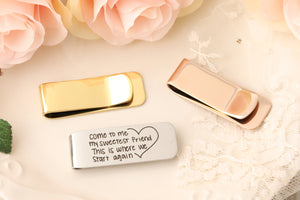 Actual Handwriting Money Clip - Personalized Money Clip - Gift For Dad - Wedding Gift for Dad - Gift for Husband - Personalized Gift for Dad