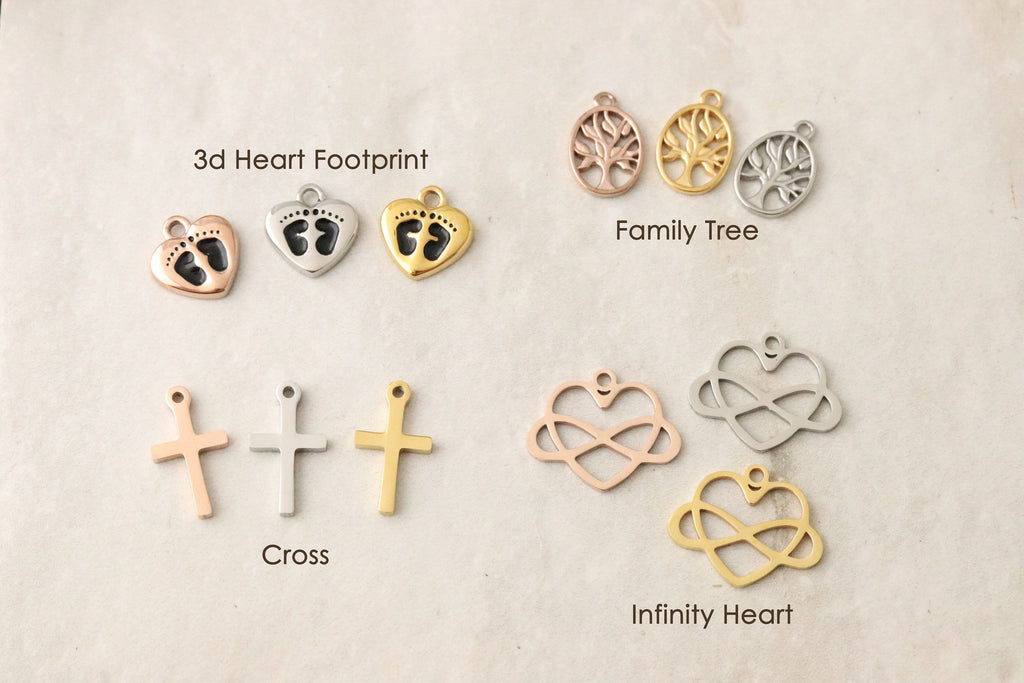 Paw Print Charm - Rose Gold Angel Wing Charm - Silver Angel Wing Charm - Gold Angel Wing Charm - Rose Gold Heart Charm - Silver Heart Charm