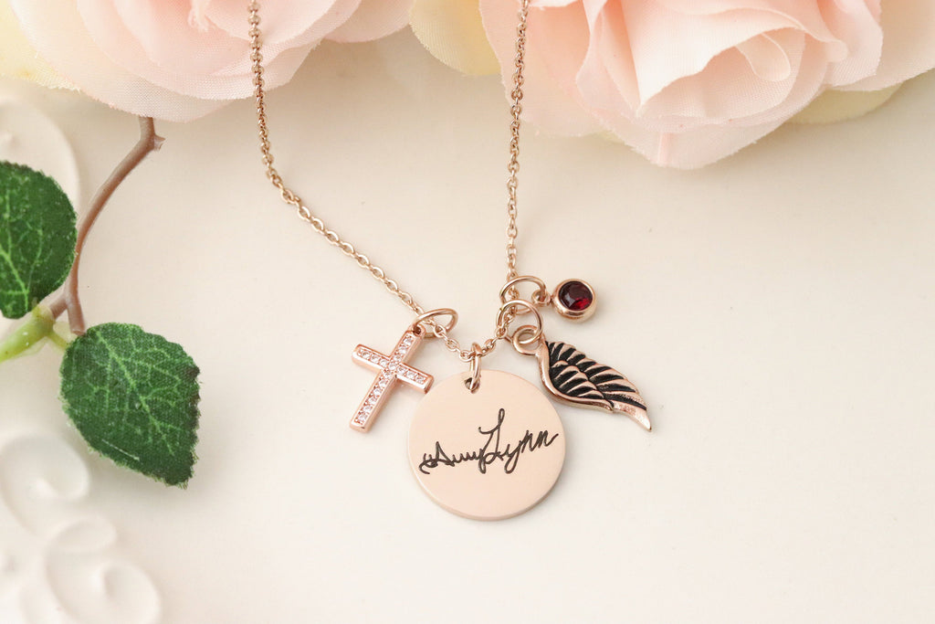 Memorial Handwriting Keepsake Necklace - Gone But Never Forgotten Necklace - Handwriting Keepsake Jewelry  Actual Handwriting Necklace