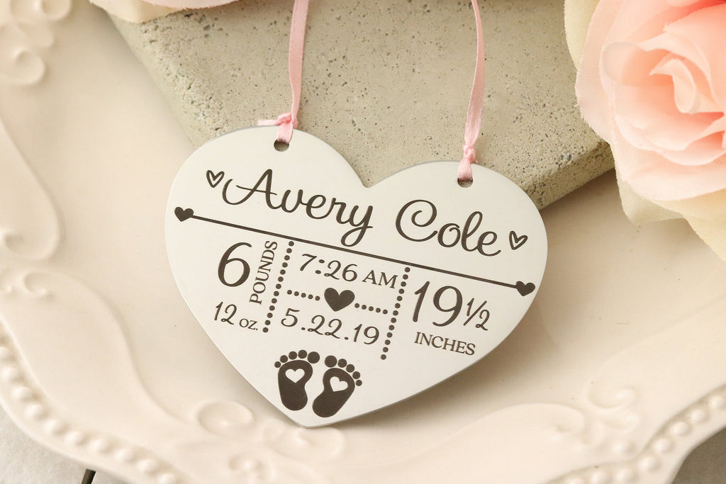 Personalized Baby Ornament - Baby Birth Stats Christmas Ornament - Baby's First Christmas Ornament - Christmas ornament for New Baby -