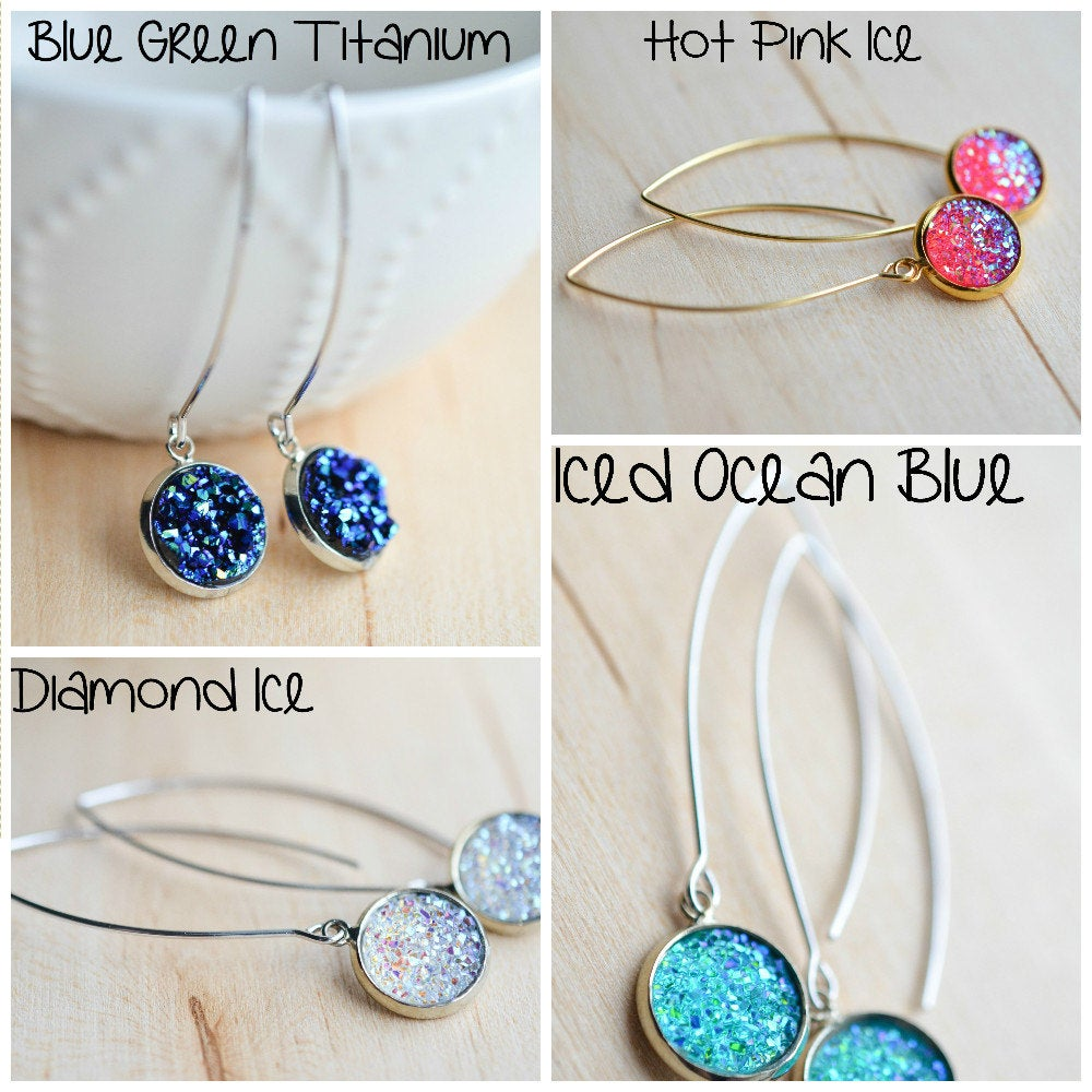 Druzy Drop Earrings - Druzy Threader Earrings - Druzy Dangle Earrings - druzy earwires - druzy earrings - drusy earrings - druzy jewlery