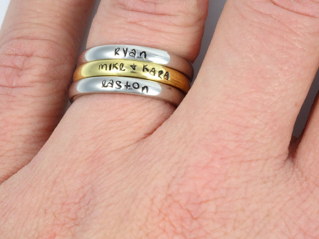 Personalized Stackable Ring - Personalized Ring - Mothers Rings - Hand Stamped Ring - Ring with Names - Stacking Ring - Name Ring - Engraved