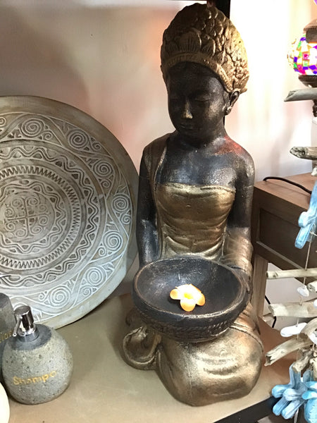 Serene Balinese  Lady With Bowl Gold