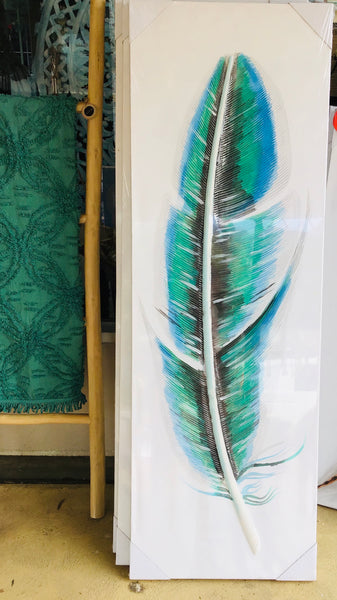 Feather a Painting Teal