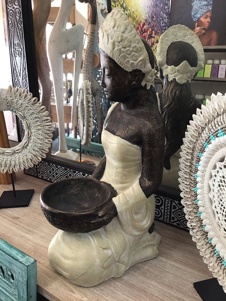 Serene Balinese  Lady With Bowl White