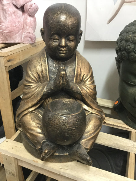 Praying Shaolin Monk With Bowl Gold