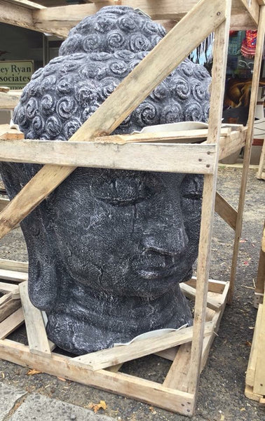 Serene Buddha Head-Greywash