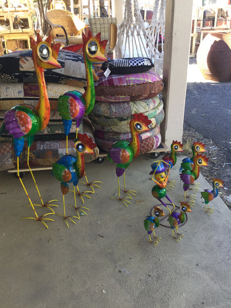 Rainbow Metal Ostriches Medium