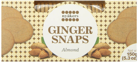Nyåkers Ginger Snaps Almond, 150g - Case of 12