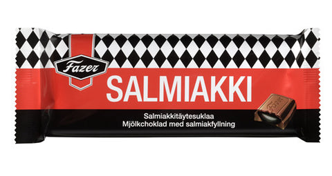 Case of Fazer Salmiakki Filled Chocolate Bar 100g