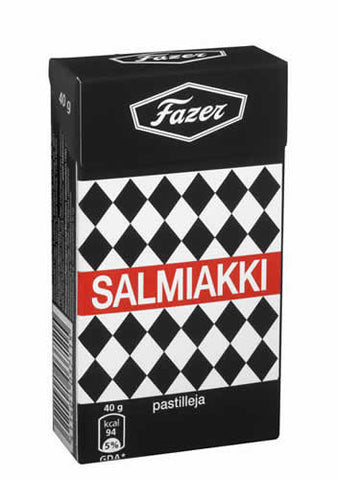 Case of Fazer Salmiakki Salt Licorice Pastilles