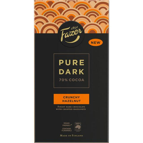 Fazer Pure Dark Crunchy Hazelnut Bar, 95 g - Case of 16