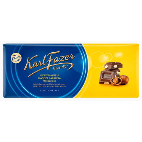 Fazer Milk Chocolate Bar with Whole Hazelnuts, 200g