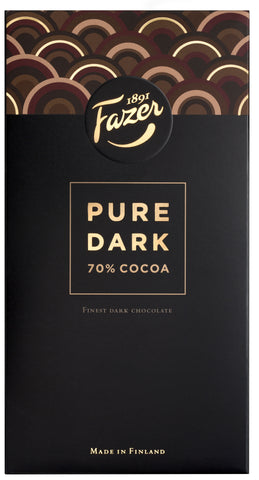 Fazer Pure Dark Chocolate Bar, 70% Cocoa, 95g - Case of 16