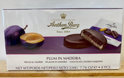 Anthon Berg Chocolate Covered Marzipan in Plum and Madeira, 220g