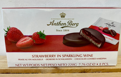 Anthon Berg Chocolate Covered Marzipan Strawberry and Sparkling Wine, 220g