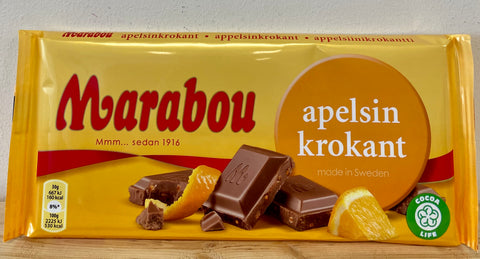 Marabou Orange Chocolate Bar, 200g - Case of 18