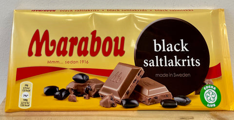 Marabou Black Salt Licorice Chocolate Bar, 180g