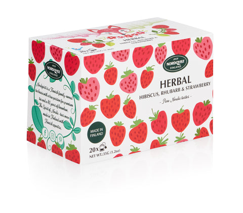 Nordqvist Pure Nordic Tastes Strawberry Herbal Tea with Rhubarb & Hibiscus, 20 x 1.75g