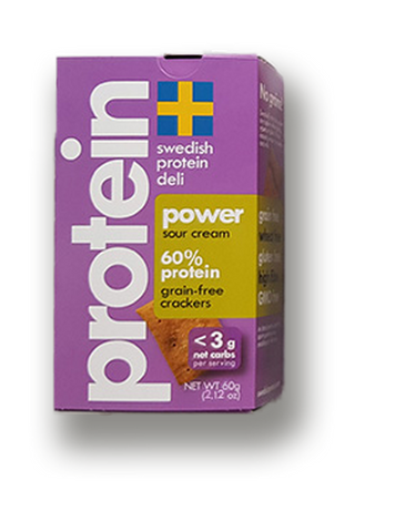 Swedish Protein Deli 60% Protein Grain-Free Power Sour Cream Crackers, 60g
