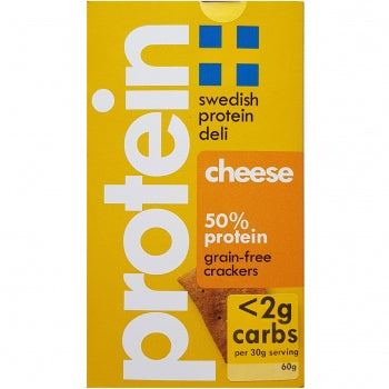 Swedish Protein Deli 50% Protein Grain-Free Cheese Crackers, 60g - Case of 10