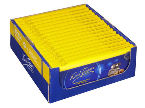 Case of Fazer Milk Chocolate with Whole Hazelnuts 200g