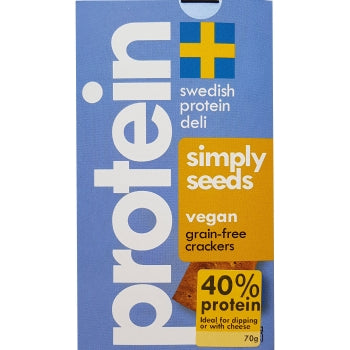 Swedish Protein Deli 45% Protein Vegan Grain-Free Simply Seeds Crackers, 70g - Case of 10