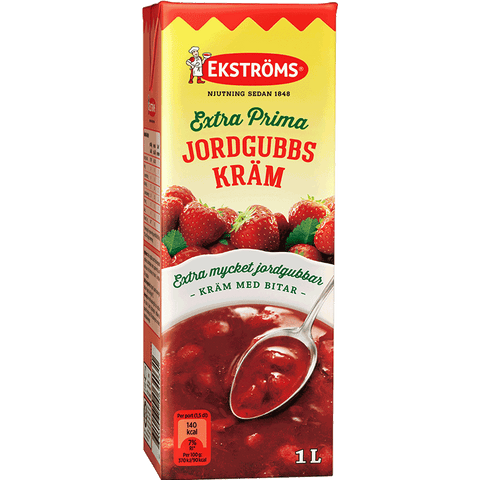 Ekströms Extra Fine Strawberry Cream, 1 litre - Clearance