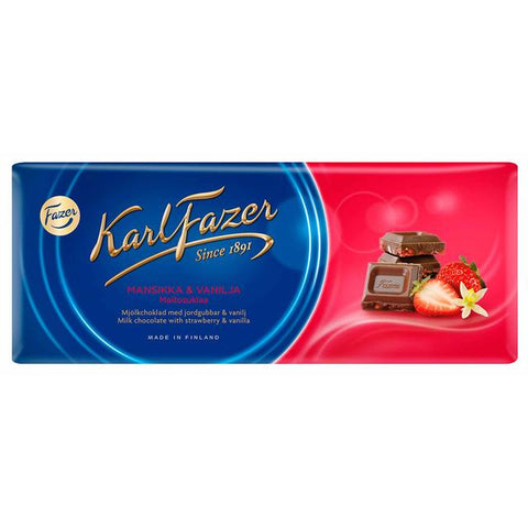 Fazer Strawberry and Vanilla Milk Chocolate Bar, 190g - Case of 19