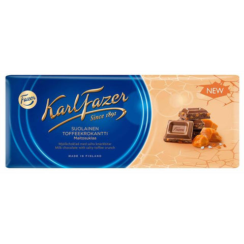 Fazer Milk Chocolate with Salty Toffee Crunch Bar, 200g - Case of 22