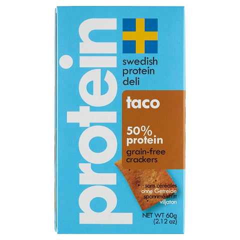 Swedish Protein Deli 50% Protein Grain-Free Taco Flavoured Crackers, 60g - Case of 10