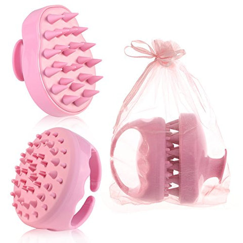 ACRATO Shampoo Scalp Massage Brush included Hair Scalp Brush and Cellulite Massager for Hair Scalp Health and Cellulite Treatment - used as Bath Brush and Scalp Massage Tool Pink