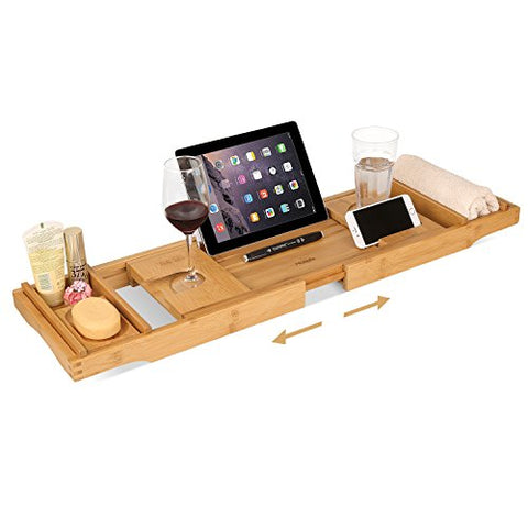 Bamboo Bathtub Caddy Tray Expandable with Extending Sides, Cellphone Tray and Wineglass Holder, Brandlet, Bathtub Caddy, Brandlet