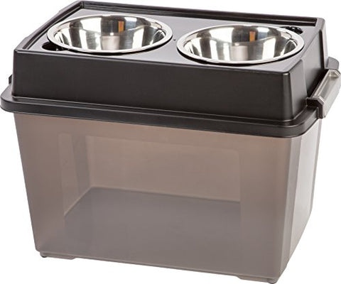 Large Raised Bowls Feeding Station with Airtight Storage, Black and Tan