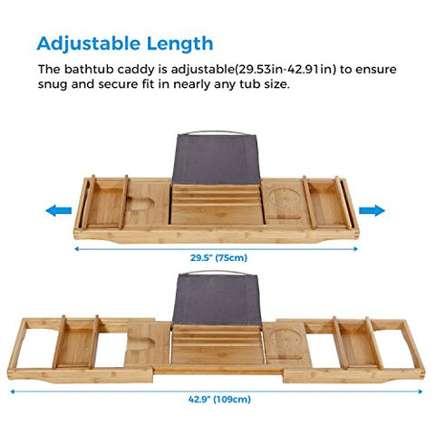 ... Bathtub Caddy Tray Expandable Bamboo Bath Tub Organizer With Tablet  Stand, Brandlet, Bathtub Caddy ...