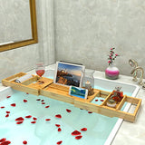 Bathtub Caddy Tray Expandable Bamboo Bath Tub Organizer with Tablet Stand